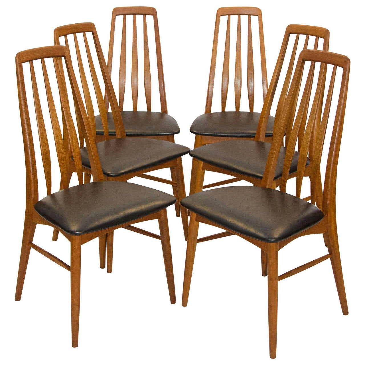 Six danish teak dining chairs koefoed hornslet at stdibs