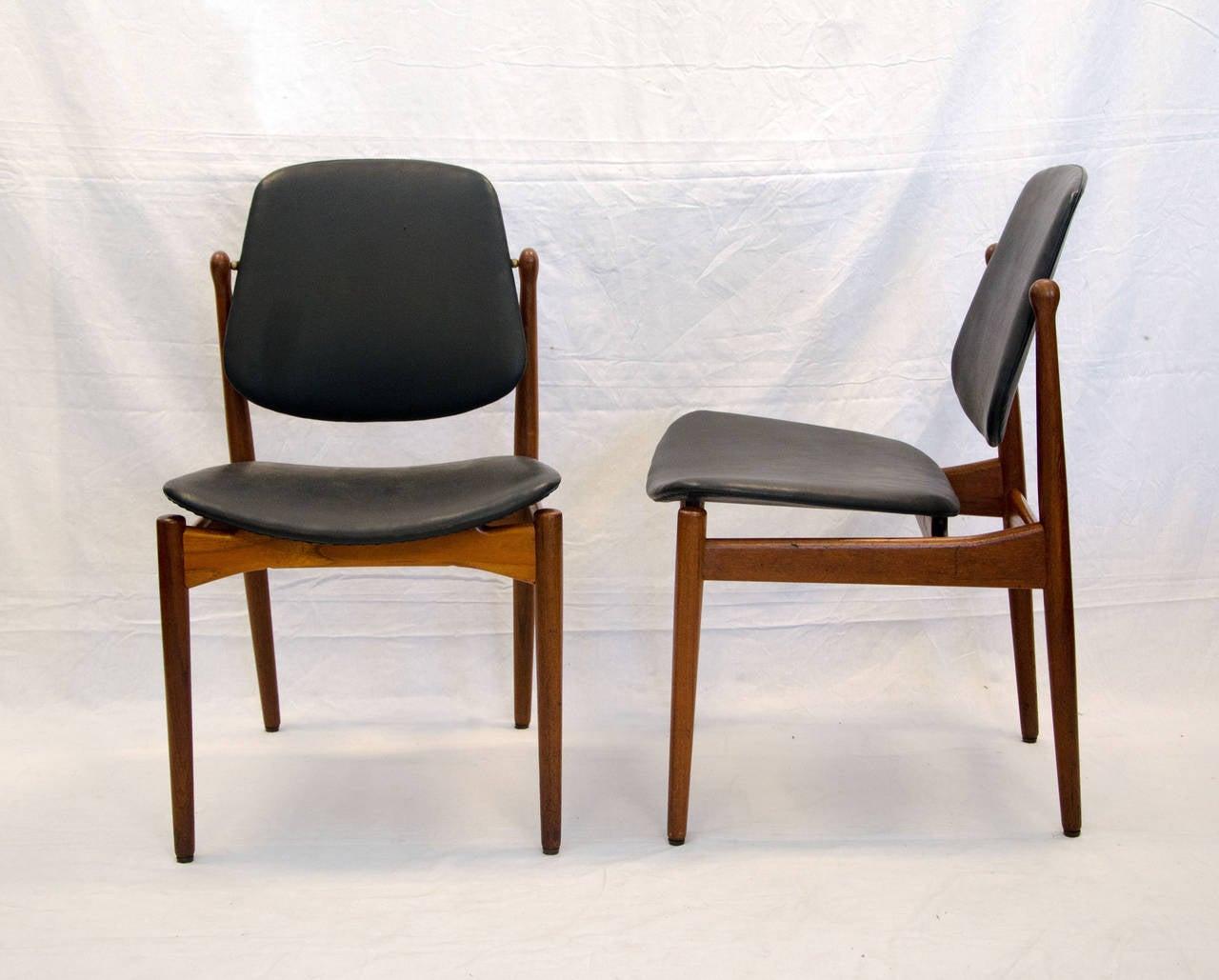 eight danish teak dining chairs arne vodder image 4. Black Bedroom Furniture Sets. Home Design Ideas