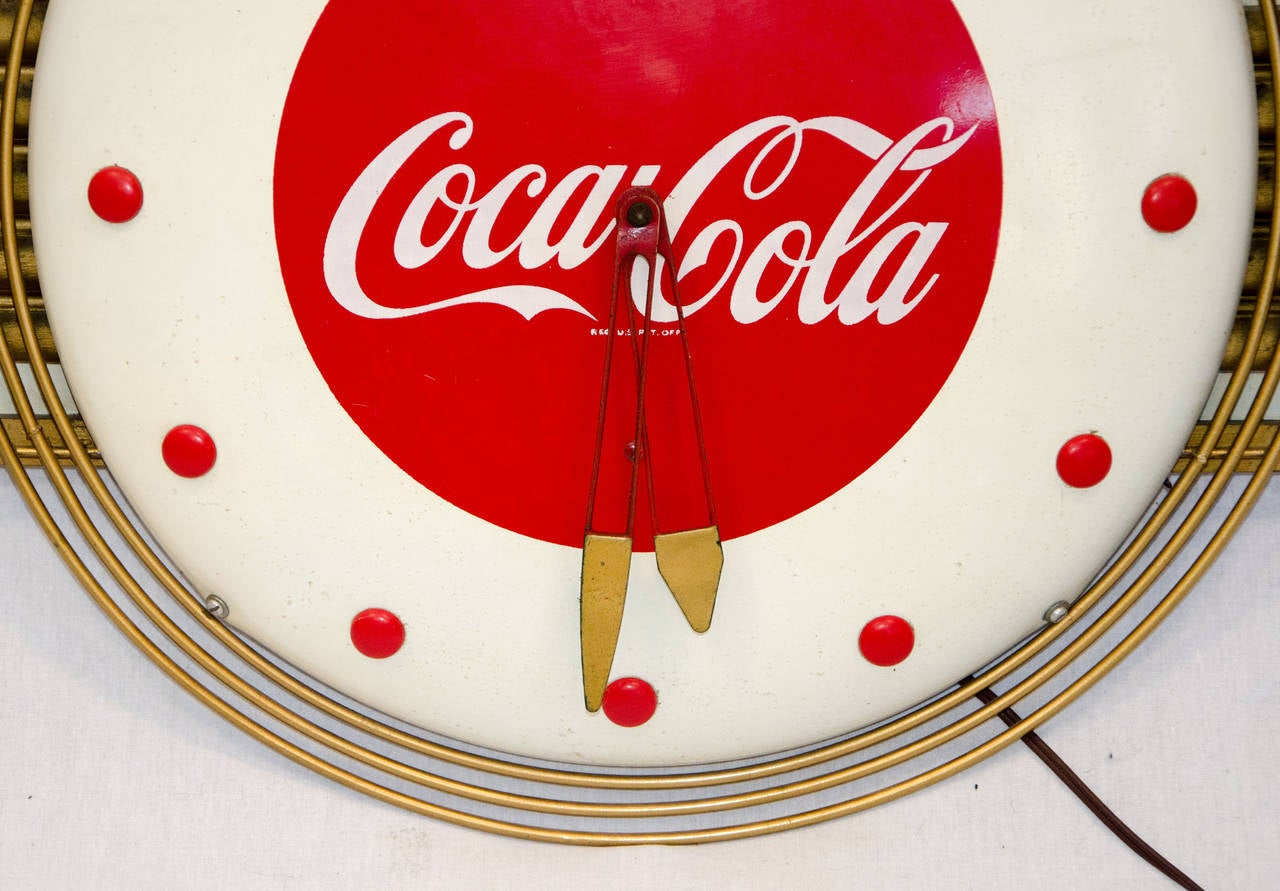 coca cola art deco style wall clock for sale at 1stdibs. Black Bedroom Furniture Sets. Home Design Ideas