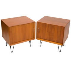 Pair of Danish Teak Night Stands, Tambour Doors