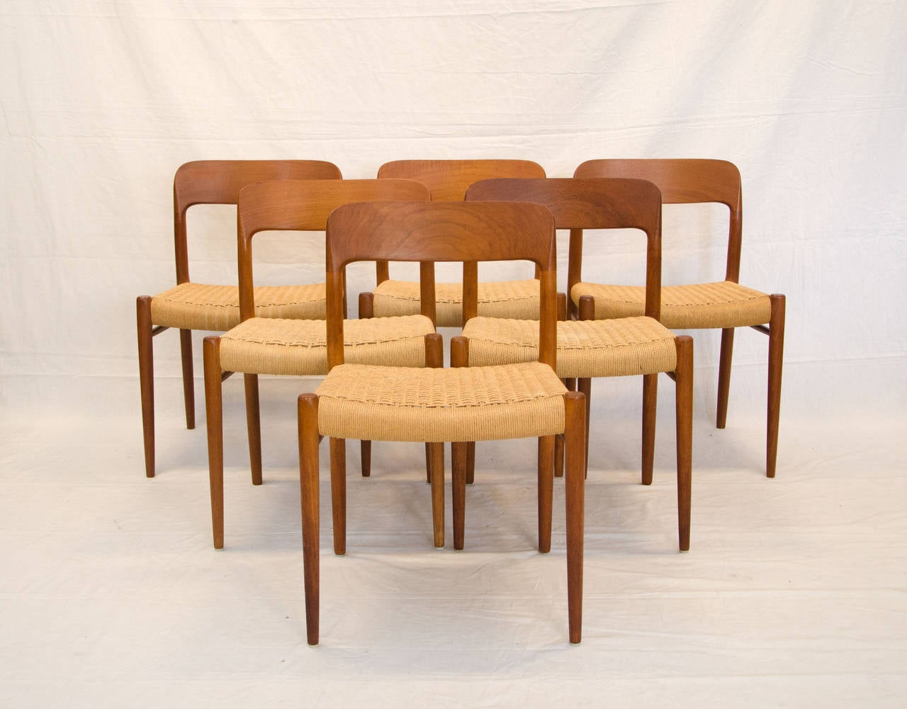 four danish teak dining chairs niels moller 75 at 1stdibs. Black Bedroom Furniture Sets. Home Design Ideas