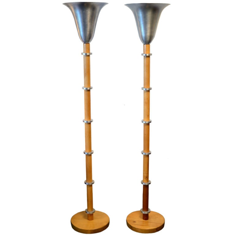 Art Deco Brushed Aluminum Torchere Lamps in the style of Russel Wright