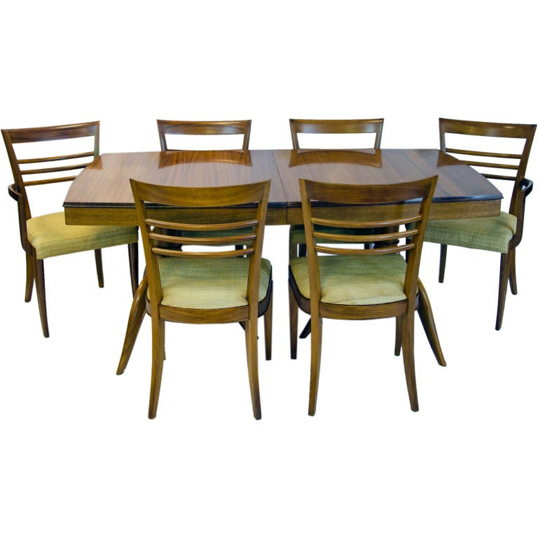 Gilbert Rohde Dining table and Six Chairs by Brown Saltman ...