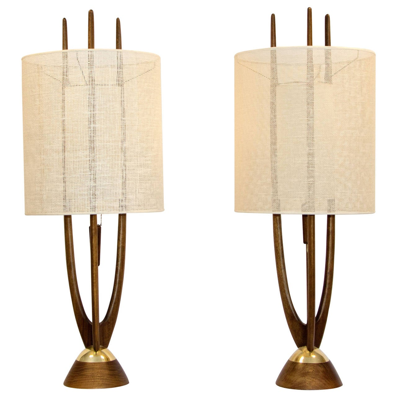 pair of mid century table lamps modeline at stdibs - pair of mid century table lamps modeline