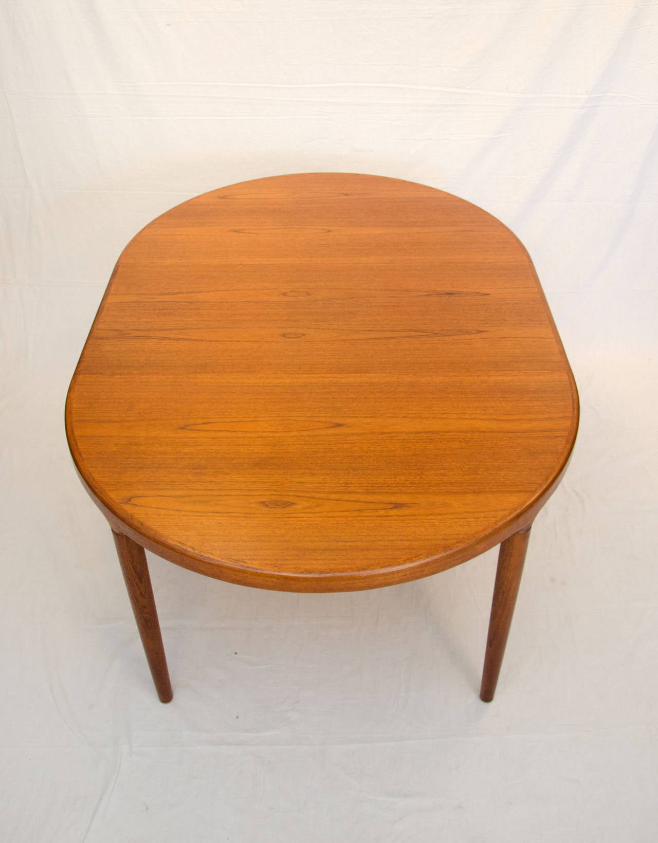 Mid century danish teak dining table with three leaves at for Dining room table 2 leaves