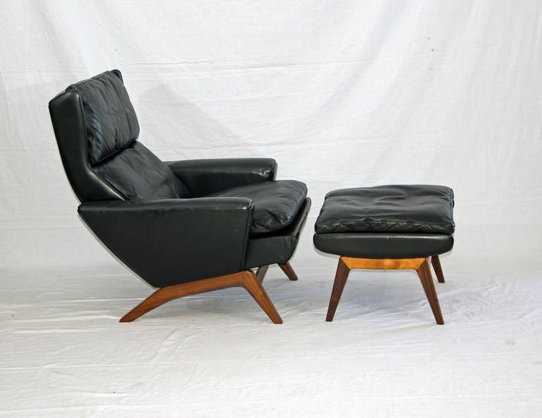 Mid Century Modern Danish Leather Lounge Chair Ottoman George Thams For