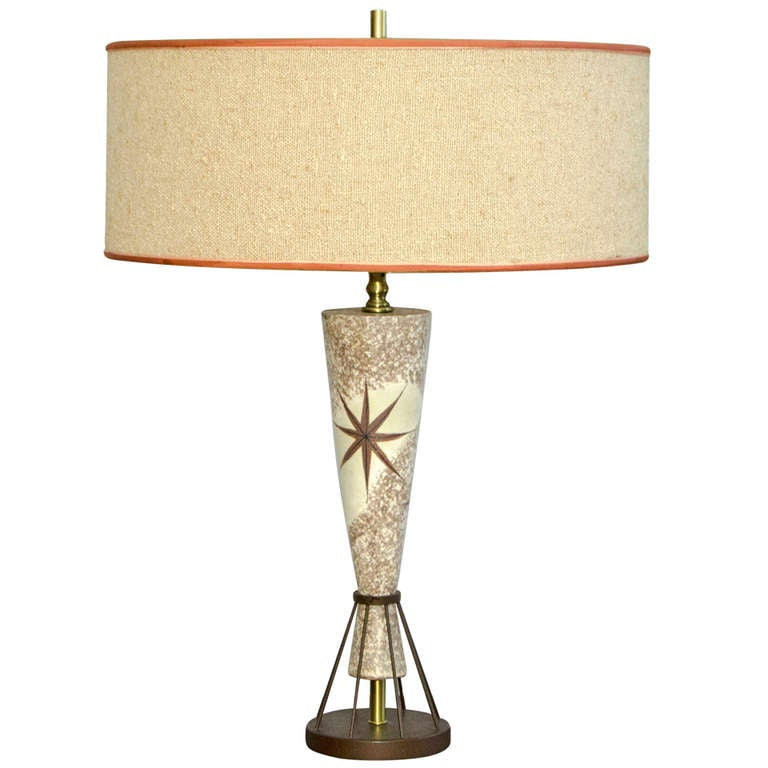 Vintage Mid Century Table Lamp   Marc Bellaire Style   Rembrandt 1