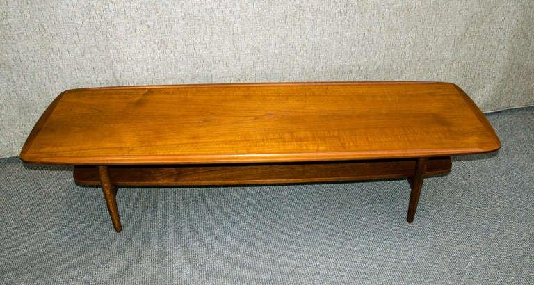 Danish Teak Coffee Table That Has A Lower Shelf 9 Mid Century