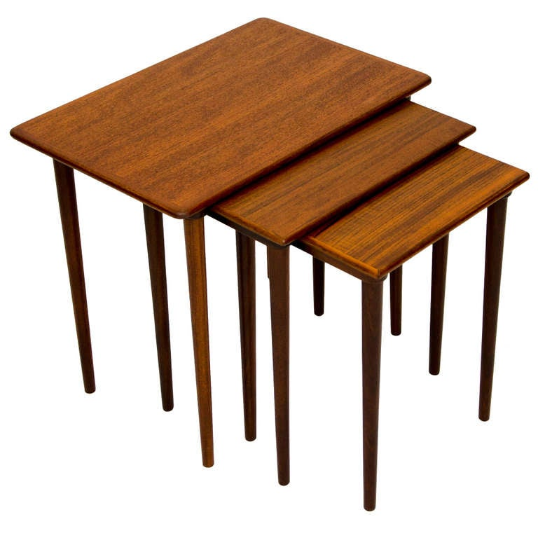 Stackable Nesting Tables ~ Mid century danish teak nesting stacking tables at stdibs