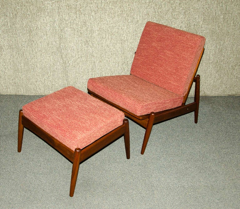 Teak Chair mid century danish teak armless lounge chair and ottoman - moreddi