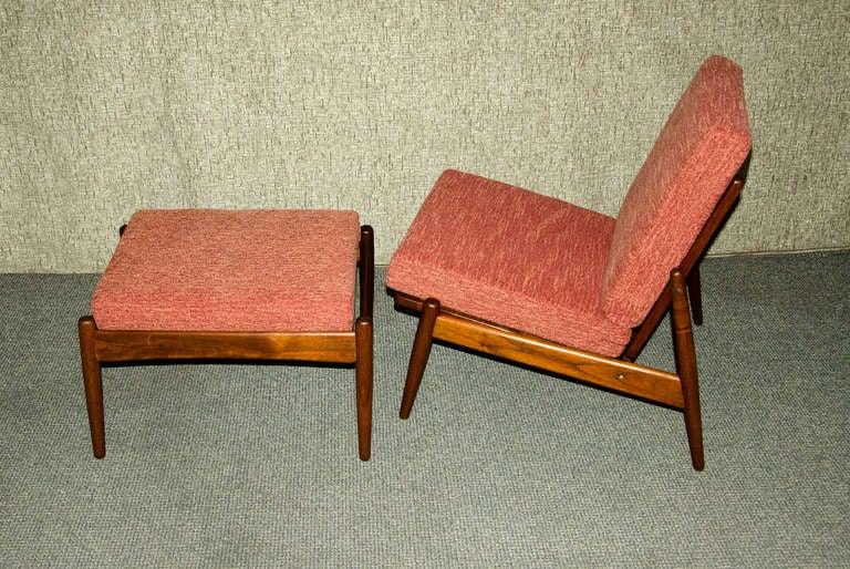 Mid Century Modern Danish Teak Armless Lounge Chair And Ottoman Moreddi For