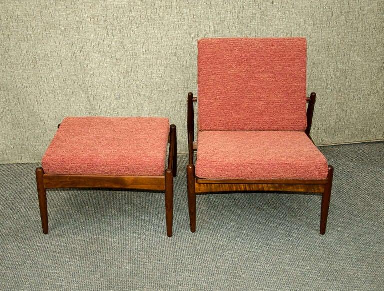 Mid Century Danish Teak Armless Lounge Chair And Ottoman