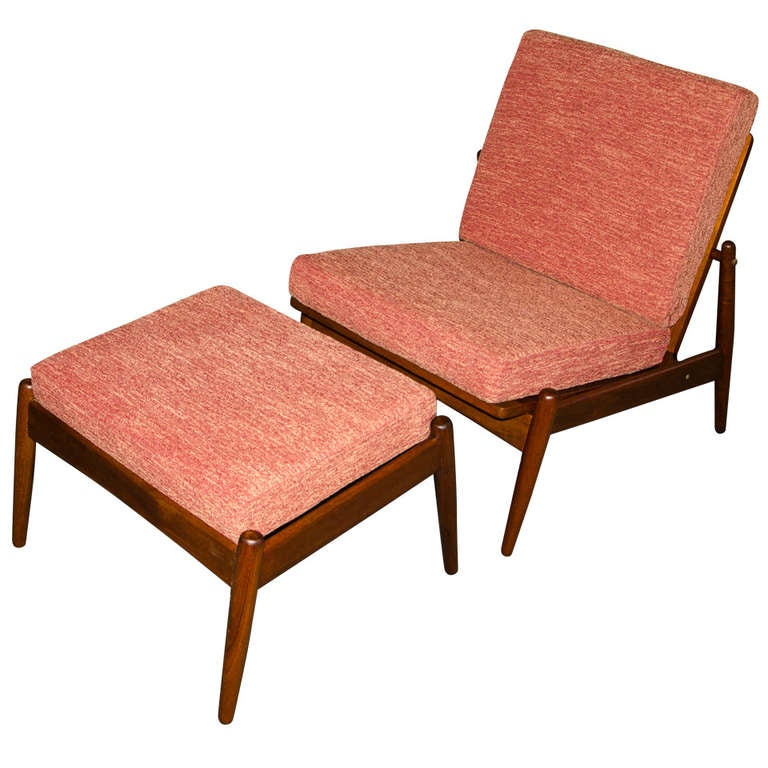 Mid century danish teak armless lounge chair and ottoman - Mid century modern chair and ottoman ...