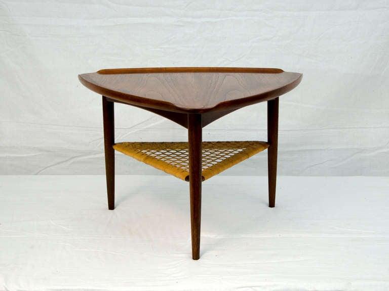 Nice Mid Century Danish Selig Manufactured Triangular Table. Has An  Upturned Edge On All Three