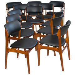 Set of 12 Danish Teak Dining Chairs by Erik Buck