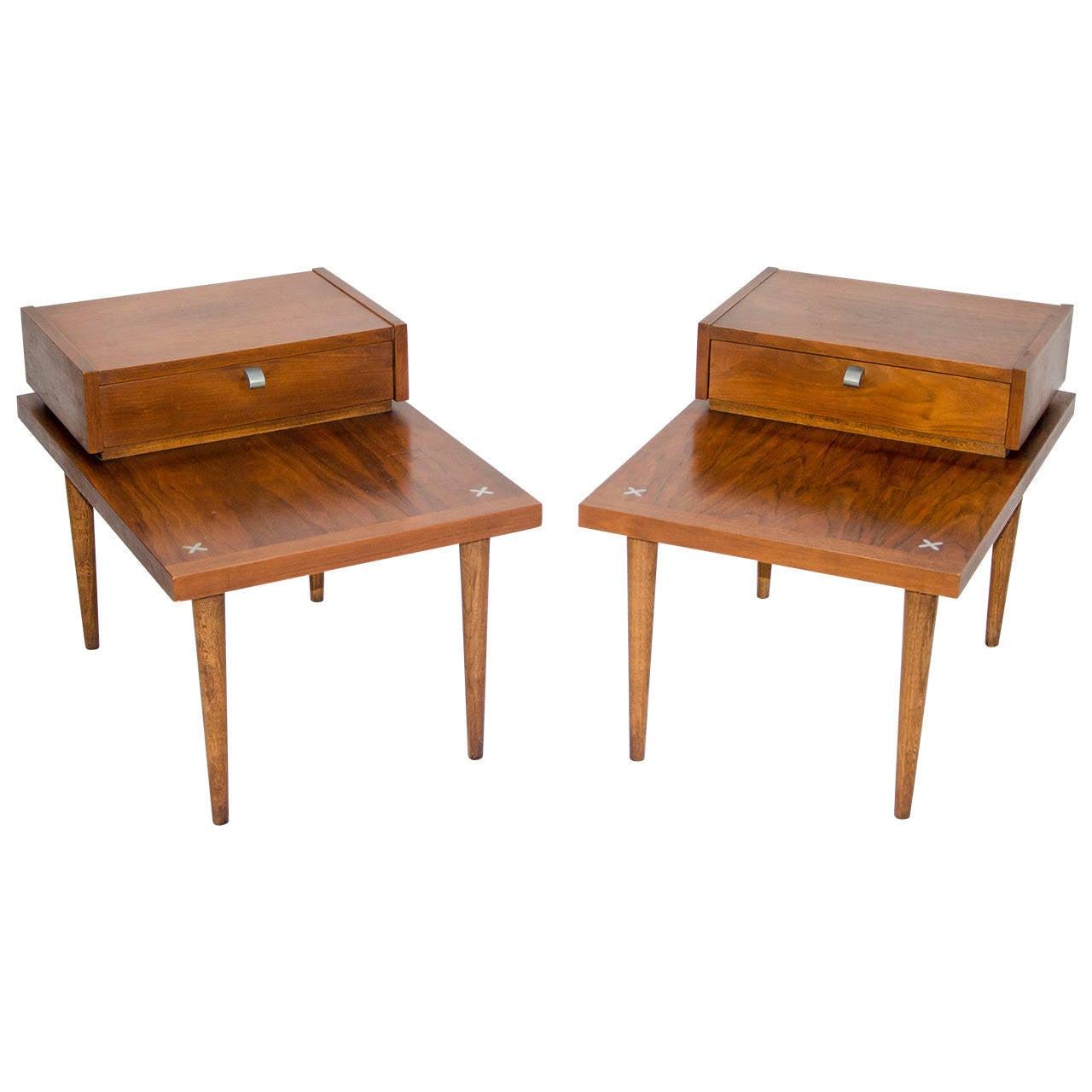 Reserved Mid Century Modern Lane Burl Wood Surfboard Coffee: Pair Of Walnut Mid Century End Tables