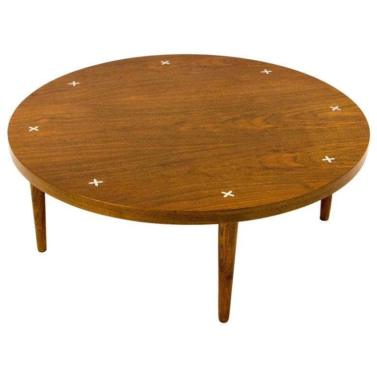 Round Mid Century Walnut Coffee Table At 1stdibs