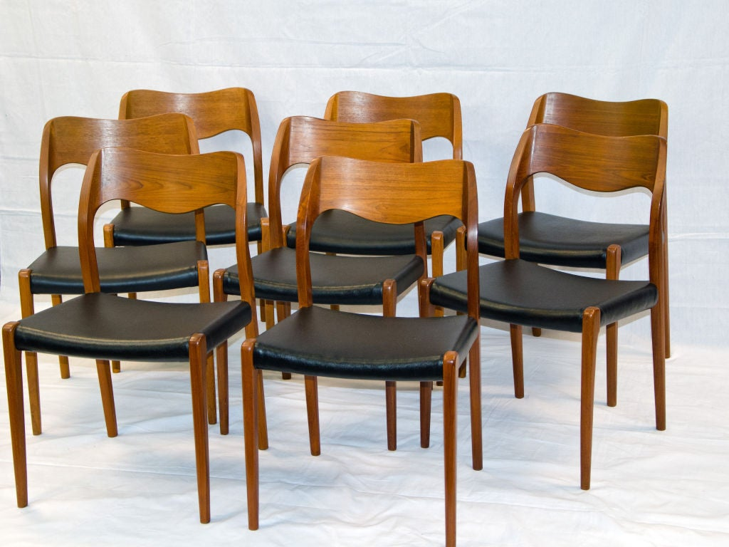 Eight Moller Teak Dining Chairs 71 At 1stdibs