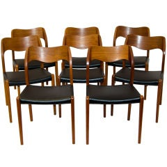 Eight Moller Teak Dining Chairs #71