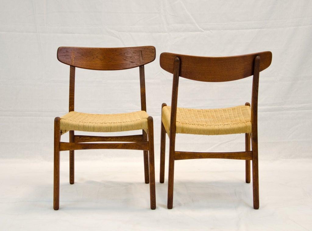 Set of six hans wegner dining chairs c23 at 1stdibs for Wegner dining chair
