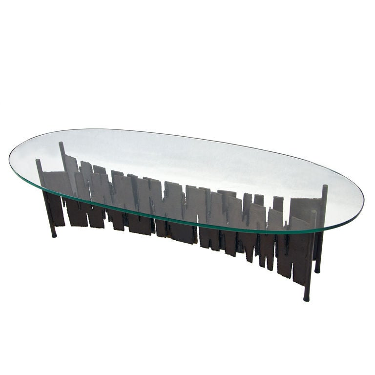 Brutalist Coffee Table Iron Glass At 1stdibs