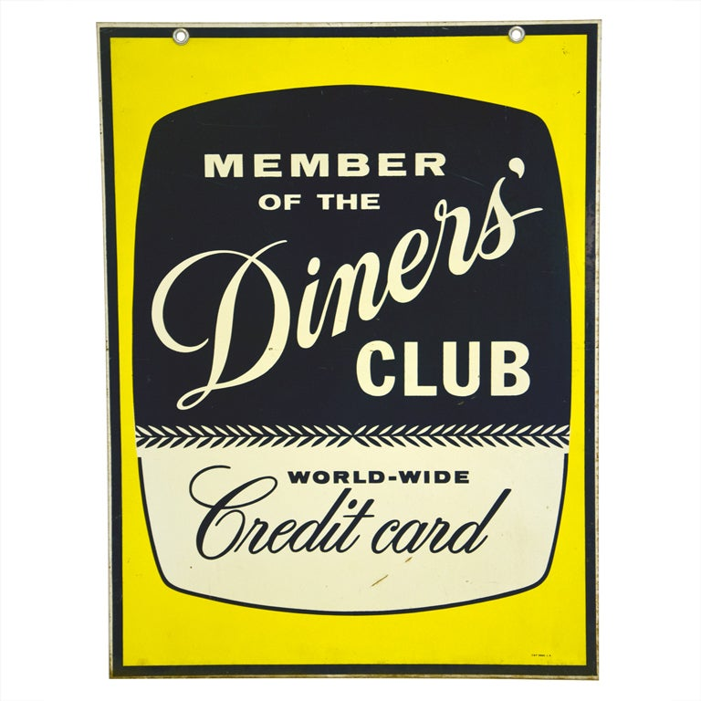 "Mid Century Sign ""Diner's Club"" For Sale"