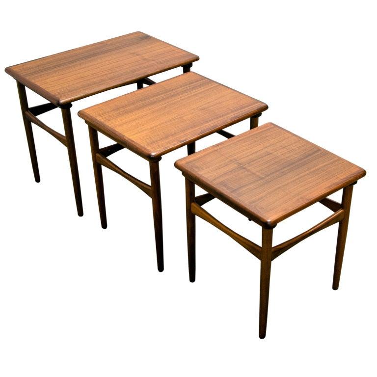 walnut nesting tables kristiansen mid century