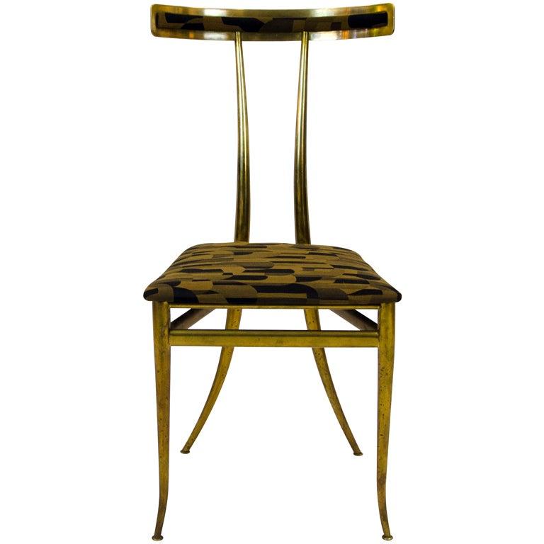 Italian Brass Klismos Chair at 1stdibs