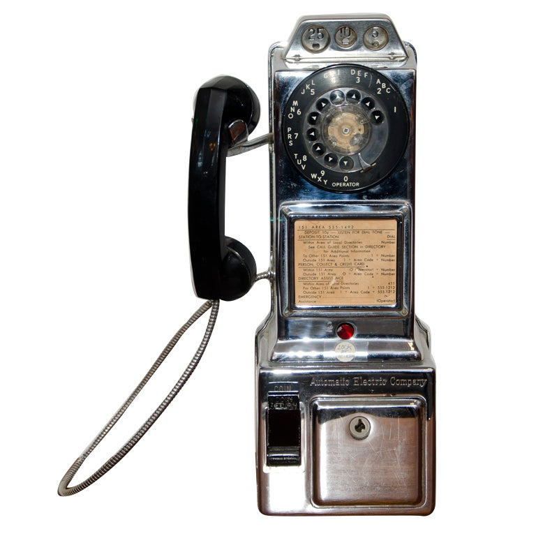 Automatic Electric Co Chrome Pay Phone At 1stdibs