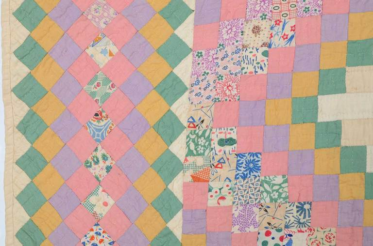Mid-20th Century Irish Chain Quilt For Sale