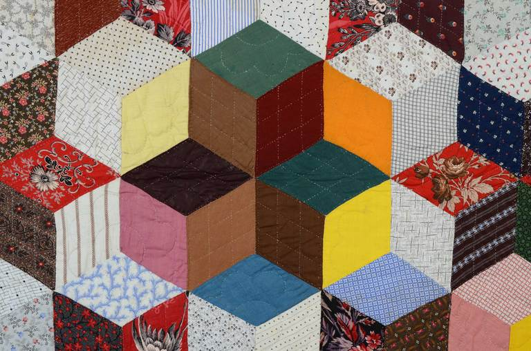 19th Century Tumbling Blocks Charm Quilt For Sale