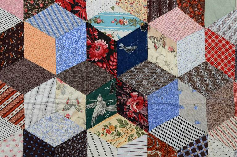 Cotton Tumbling Blocks Charm Quilt For Sale