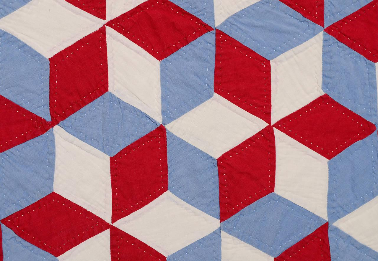 Quilting Patterns Tumbling Blocks : Tumbling Blocks or Stars Quilt at 1stdibs