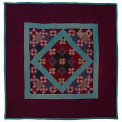Lancaster County Amish Nine-Patch and Diamond in a Square Quilt