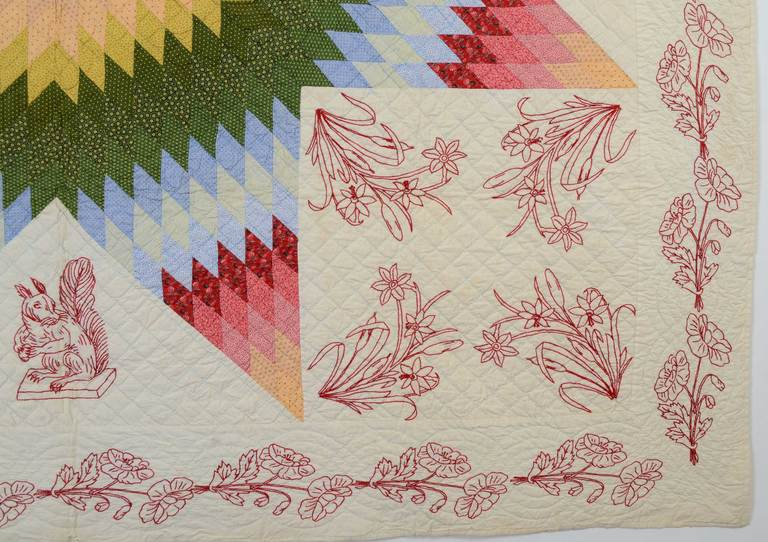 American Lone Star Quilt with Embroidery For Sale