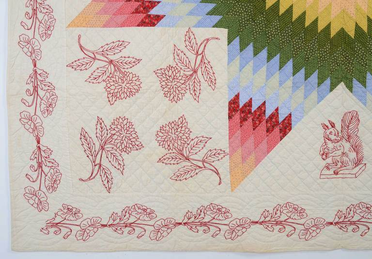 19th Century Lone Star Quilt with Embroidery For Sale