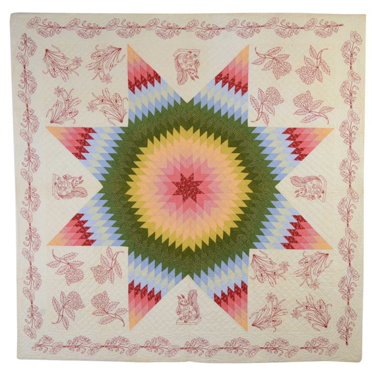 Lone Star Quilt with Embroidery For Sale