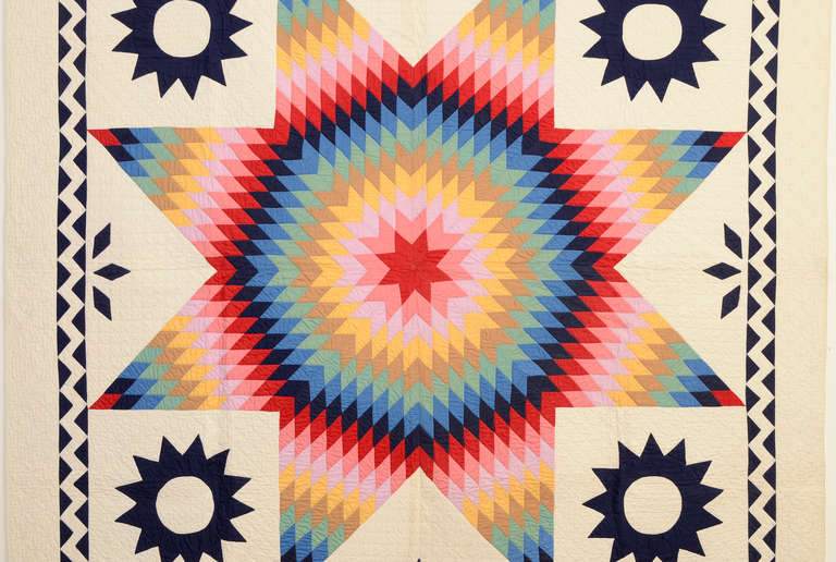 Lone Star Quilt with ZigZag Border at 1stdibs