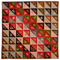 Wool Triangles Quilt with Embroidery