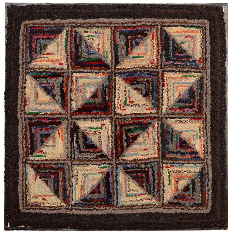 Log Cabin Pattern Hooked Rug For Sale At 1stdibs