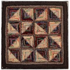 Log Cabin Pattern Hooked Rug