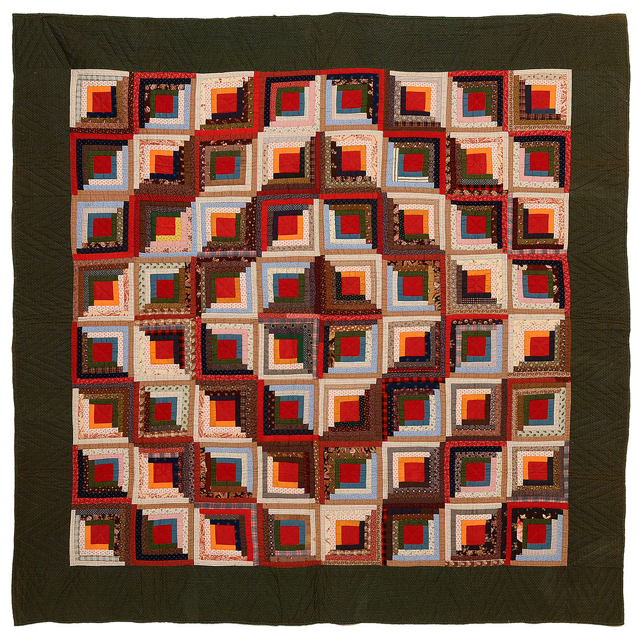 Amazing photo of Calico Barn Raising Log Cabin Quilt at 1stdibs with #B61715 color and 1280x1280 pixels