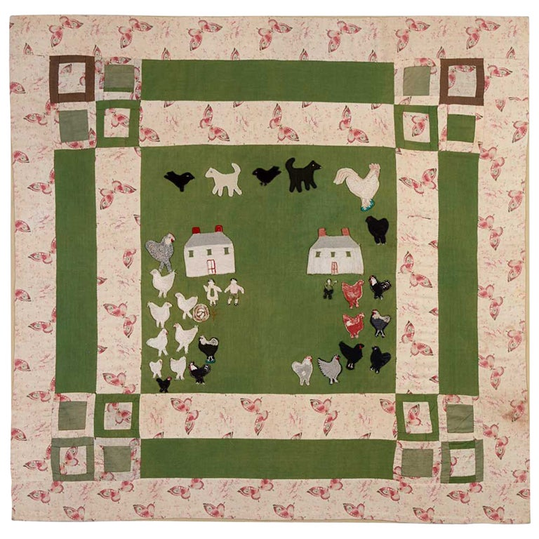 Farm Scene Crib Quilt At 1stdibs