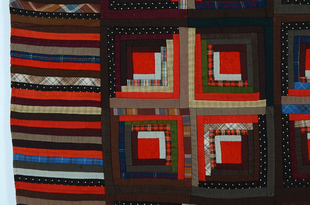 19th Century Light and Dark Log Cabin Quilt For Sale