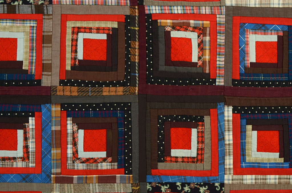 Wool Light and Dark Log Cabin Quilt For Sale