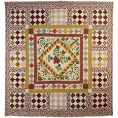Center Medallion Quilt with Appliqued Basket of Flowers