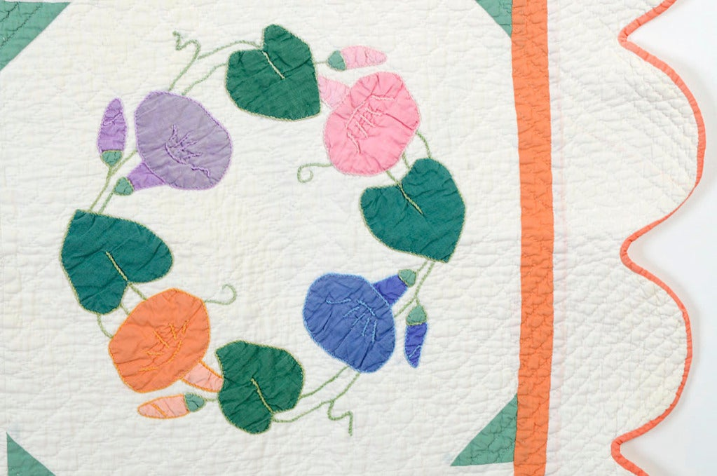 Mid-20th Century Morning Glories Quilt For Sale