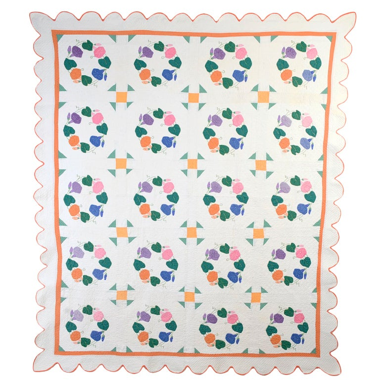 Morning Glories Quilt For Sale