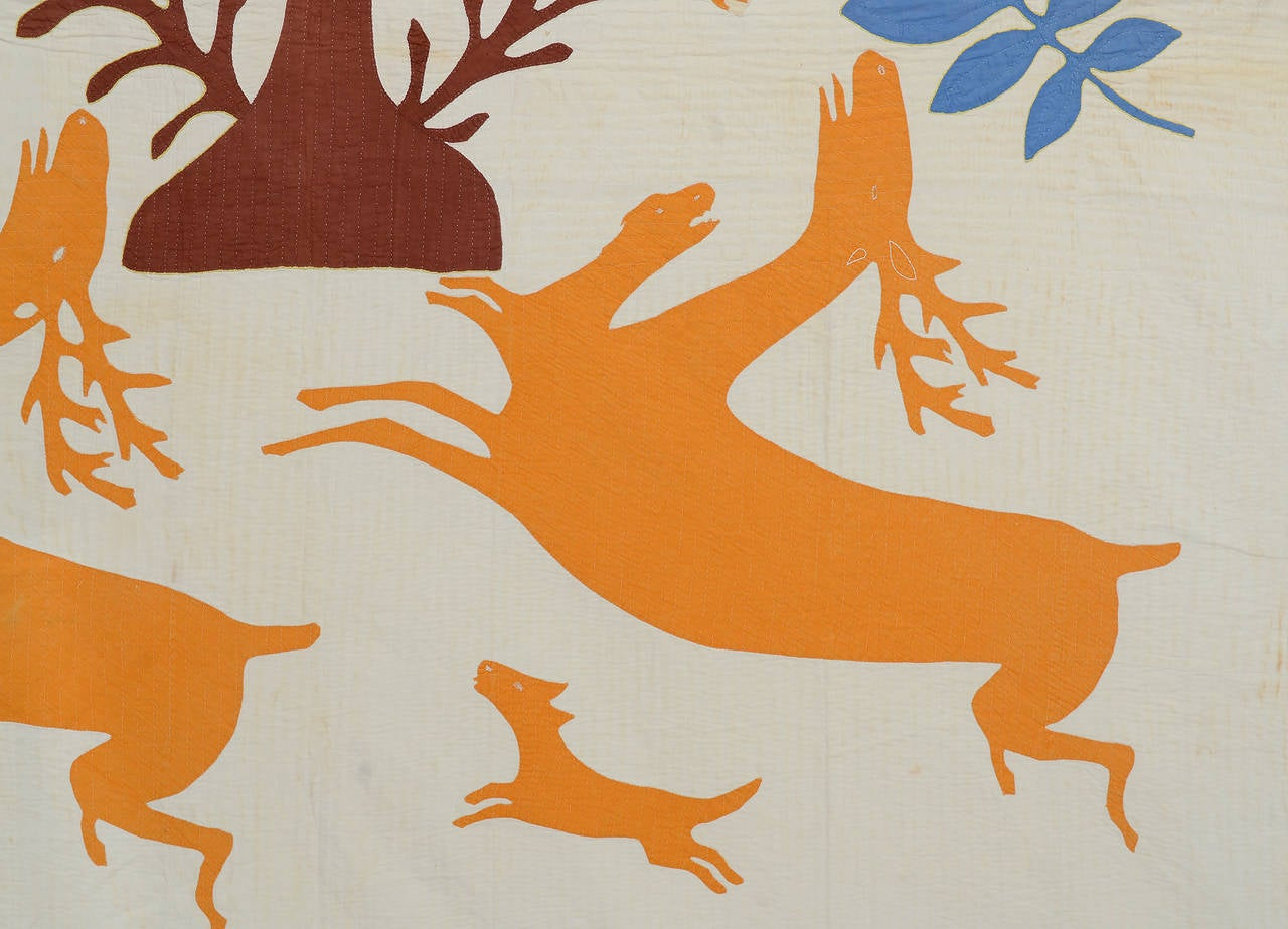 American Stag and Hounds Folk Art Quilt For Sale