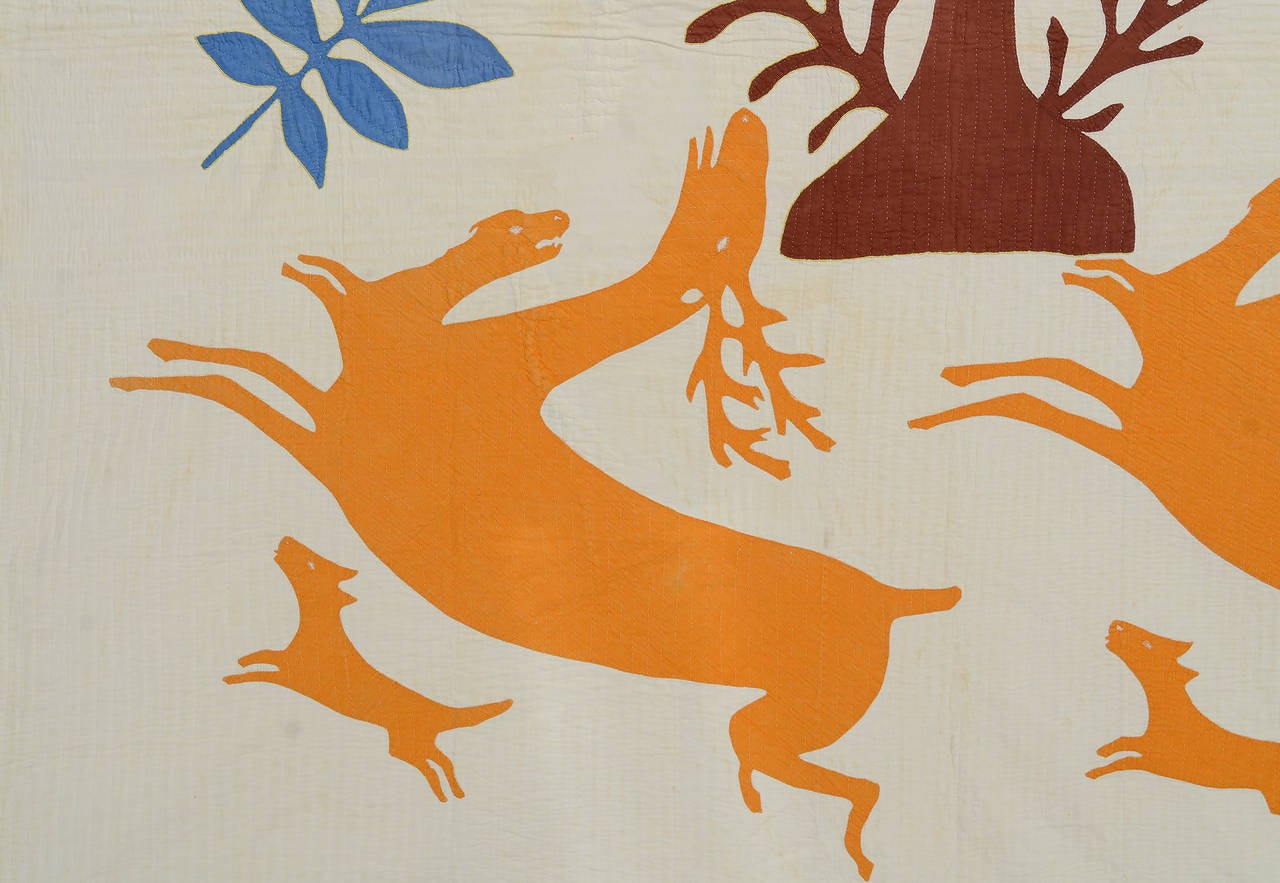 Appliqué Stag and Hounds Folk Art Quilt For Sale